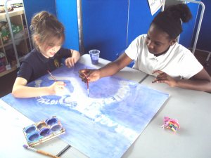 Y6 girls painting